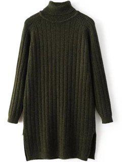 Jersey De Cuello De Punto Acanalado Suéter Largo - Verde Negruzco