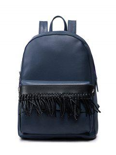 Removable Fringe PU Leather Backpack - Blue