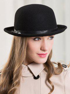 Outdoor Wool Wide Brim Fedora Hat - Black