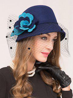 Wool Wide Brim Floral Gauze Fedora Hat - Royal