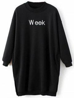 Embroidered Brushed Longline Sweatshirt - Black