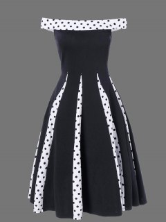 Polka Dot Trim Patchwork Fit And Flare Dress - Black L