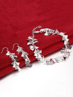 Adorn Christmas Tree Earrings And Bracelet - Silver