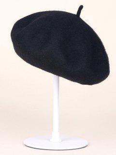Autumn Winter Wool Beanie Beret - Black