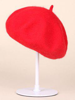 Autumn Winter Wool Beanie Beret - Water Red