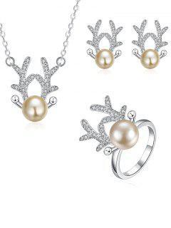 Rhinestoned Christmas Elk Jewelry Set - Silver