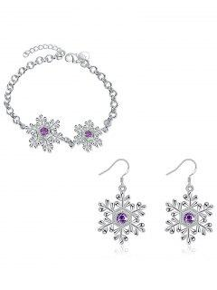 Faux Amethyst Snowflake Christmas Bracelet And Earrings - Silver