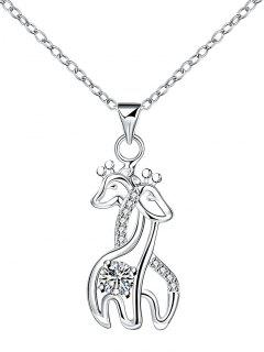 Rhinestone Double Fawn Pendant Necklace - Silver