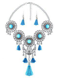 Medallion Fringed Necklace Set - Lake Blue