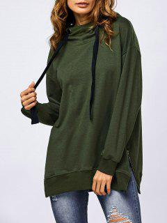 Drawstring Zipper Side Slit Hoodie - Army Green L