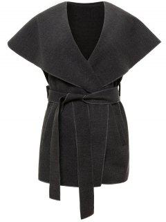 Wool Blend Shawl Collar Belted Waistcoat - Deep Gray S