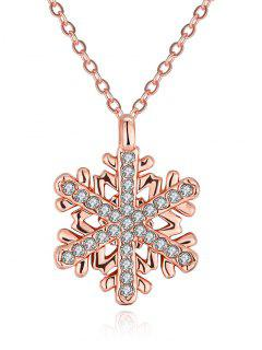 Collier En Strass Forme De Floconde Neige De Noël - Or Rose