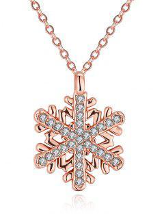 Rhinestoned Christmas Snowflake Necklace - Rose Gold