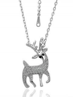 Rhinestoned Christmas Elk Necklace - Silver