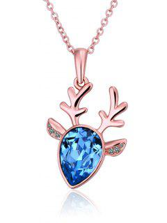 Faux Sapphire Christmas Elk Necklace - Rose Gold