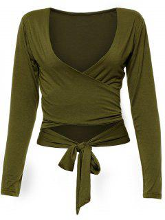 Long Sleeve Wrap Front Criss Cross Crop Top - Army Green L