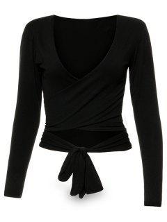 Long Sleeve Wrap Front Criss Cross Crop Top - Black S