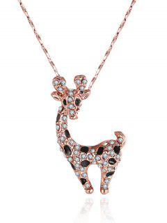 Rhinestoned Fawn Shape Pendant Necklace - Rose Gold