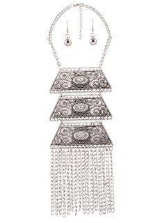 Embellished Trapezoid Tassel Necklace Set - Silver