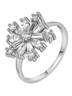 Adorn Rhinestoned Flower Ring - Silver 8