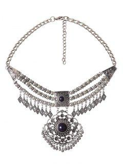 Rhombus Tassel Beading Layered Necklace - Silver