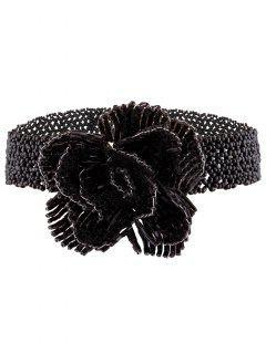 Collier Ras Du Cou Rétro Agrémenté Rose Perles  - Noir