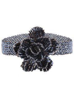 Collier Ras Du Cou Rétro Agrémenté Rose Perles  - Bleu
