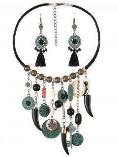 Bohemian Tassel Beads Necklace And Earrings - Black
