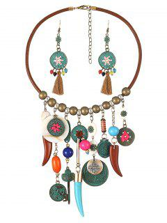 Bohemian Tassel Beads Necklace And Earrings