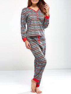 Christmas Snowflake Printed Pajamas - Light Gray S