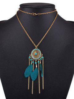 Medallion Feather Necklace - Malachite Green