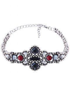 Adorn Faux Gemstone Geometric Choker Necklace - Red