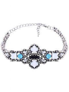 Adorn Faux Gemstone Geometric Choker Necklace - Blue