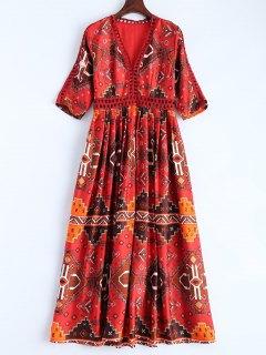 Robe Rétro Longue Col V Imprimée - Rouge S