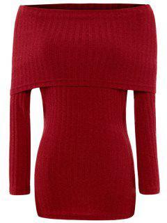 Faltdeckung Schulterfrei Pullover - Rot M