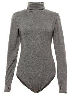 Gloved Sleeve Turtle Neck Bodysuit - Gray S