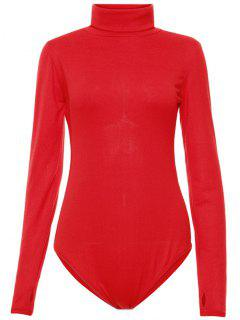 Gloved Sleeve Turtle Neck Bodysuit - Red M