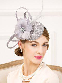 Lace Feather Flower Hat - Frost