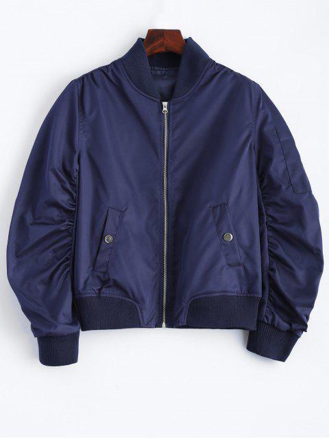 chic Pockets Bomber Jacket - DEEP BLUE L Mobile