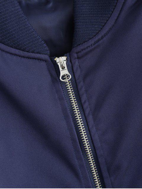 fancy Pockets Bomber Jacket - DEEP BLUE M Mobile