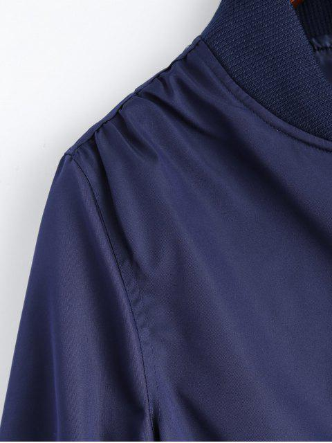 unique Pockets Bomber Jacket - DEEP BLUE S Mobile