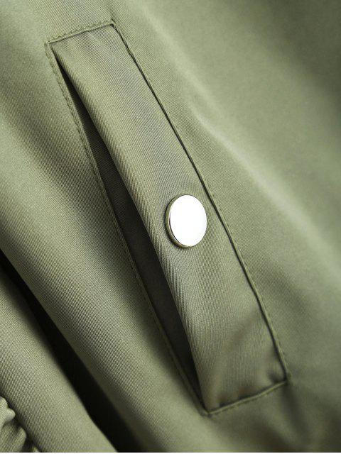 affordable Pockets Bomber Jacket - ARMY GREEN M Mobile