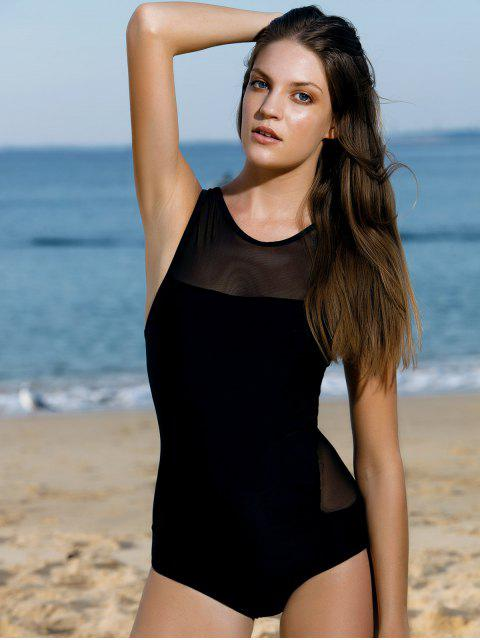 sale High-Neck See-Through One-Piece Swimwear - BLACK M Mobile
