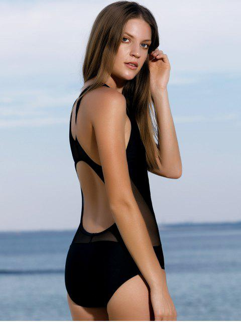 hot High-Neck See-Through One-Piece Swimwear - BLACK XL Mobile