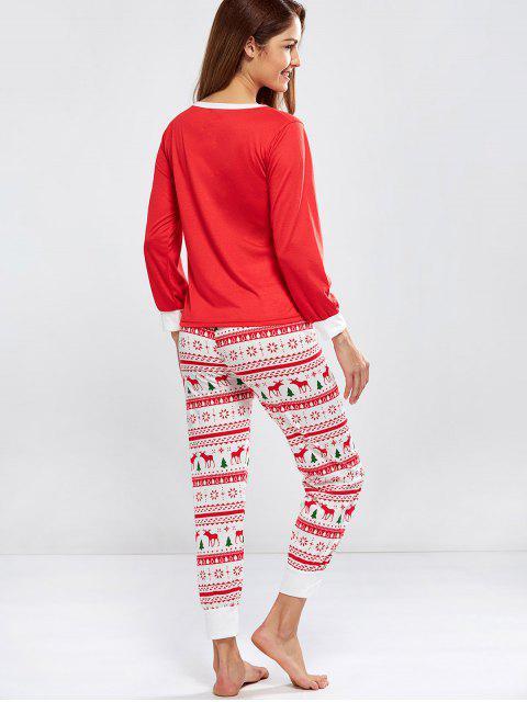 ladies Christmas Deer Print Long Sleeve Pajamas - RED S Mobile