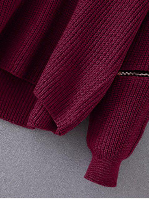 Pullover à col ras du cou et zippé aux manches - Rouge vineux  TAILLE MOYENNE Mobile