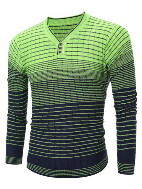 V-Ausschnitt Ombre Striped Stricken Pullover - Grün 2XL Mobile