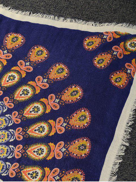 buy Floral Pattern Fringe Square Scarf -   Mobile