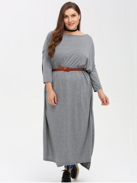 sale Plus Size High Slit Maxi Dress - GRAY 4XL Mobile