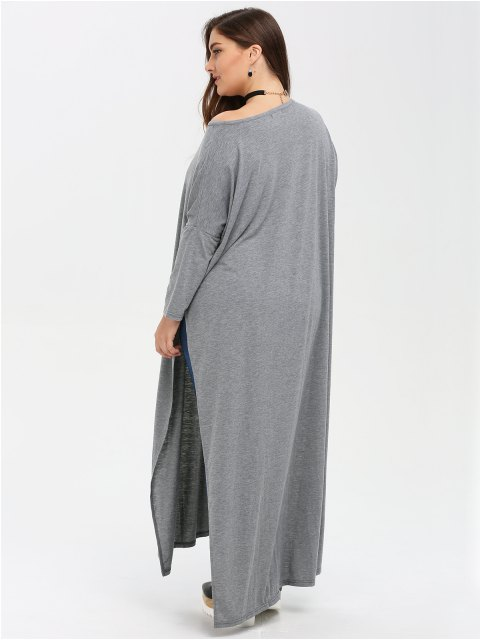 fancy Plus Size High Slit Maxi Dress - GRAY XL Mobile